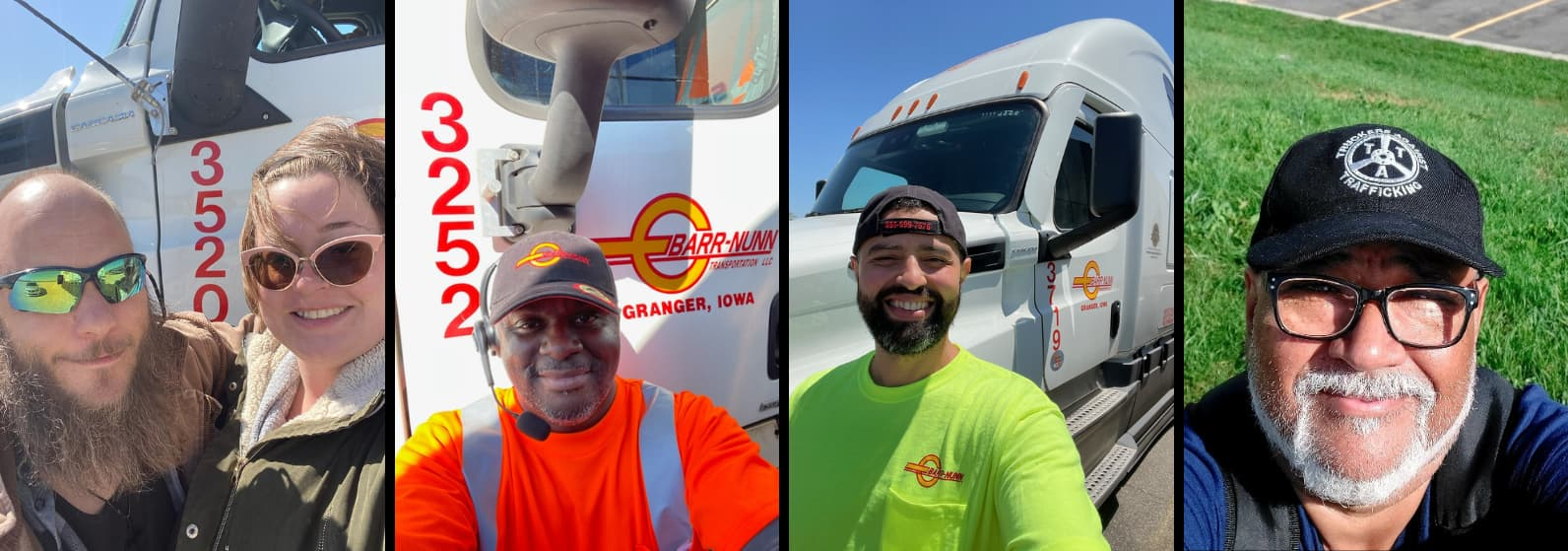 Barr-Nunn Truck Drivers by their trucks with the Top Pay Certified Carrier logo
