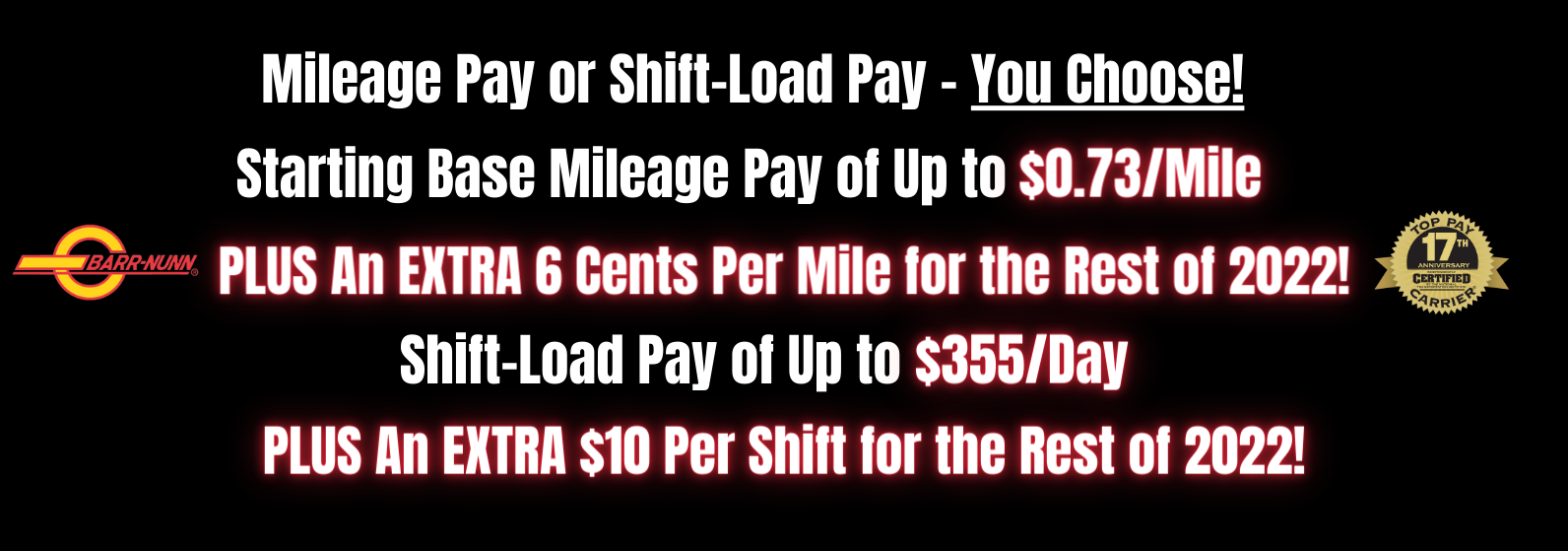 Barr-Nunn offers many types of pay options for professional truck drivers