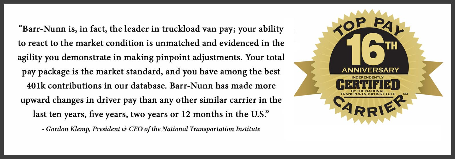 Barr-Nunn is a Certified Top Pay Carrier by the National Transportation Institute