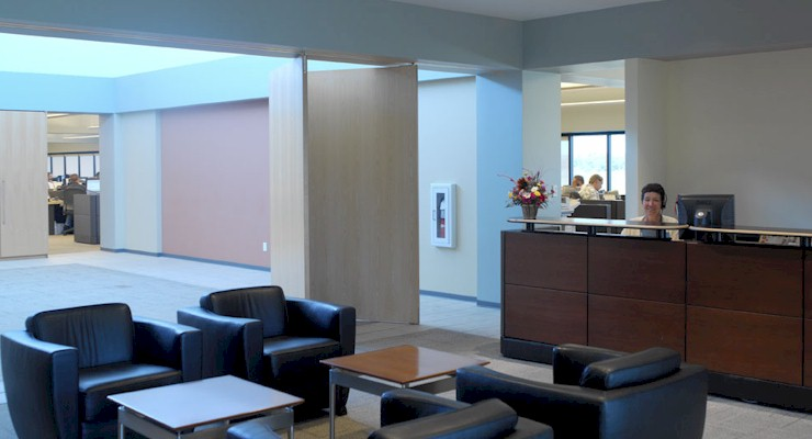 Barr-Nunn Transportation Corporate Headquarters main entrance lobby showing reception desk and waiting area