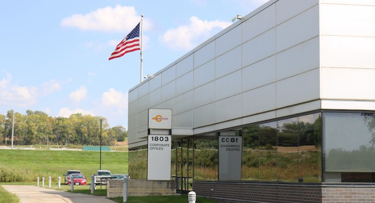 Barr-Nunn  Des Moines, IA area corporate office buiding showing company logo, address, and american flag