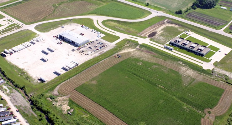 Barr-Nunn  Des Moines, IA area truck terminal aerial view showing truck lot and company land